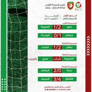 نتائج مباريات الجولة الاولى لدوري الدرجة الاولى لكرة القدم اليوم